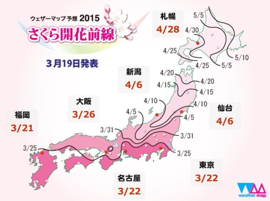 さくら開花予想2015